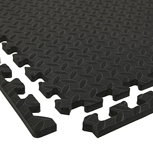 IncStores Diamond Soft Extra Thick Anti Fatigue Interlocking Foam Tiles (25 Pack, Black) - 2ft x 2ft Tiles Ideal for Laundry Room Flooring, Kitchen Mats, Exercise Mats, Garage Mats and More (Incstores Gym Tiles)