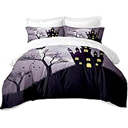 Rhap Quilt Cover Queen Size, Cartoon Holloween Printed Duvet Cover Queen Size Set, 3 Pieces Purple Ghost Castle Halloween Decor Bedding Set Gift for Kids