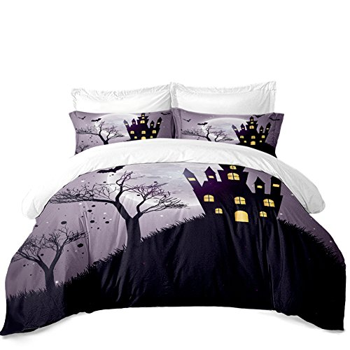Rhap Quilt Cover Queen Size, Cartoon Holloween Printed Duvet Cover Queen Size Set, 3 Pieces Purple Ghost Castle Halloween Decor Bedding Set Gift for -