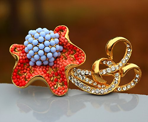 Ornate flower with scrolls high relief 22k gold plated Swarovski elements faux coral - glass BROOCH by Inga Engele made in USA lead free metal