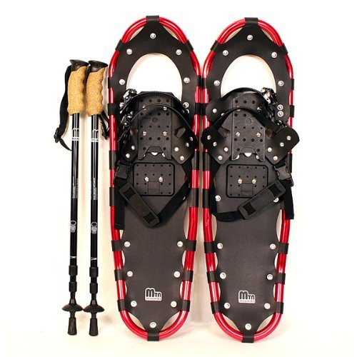 New MTN Extreme Lightweight All Terrian Man Woman Kid Teen Snowshoes up to 255 lbs /Free Bag + Nordic Pole - RED (22'' inch)