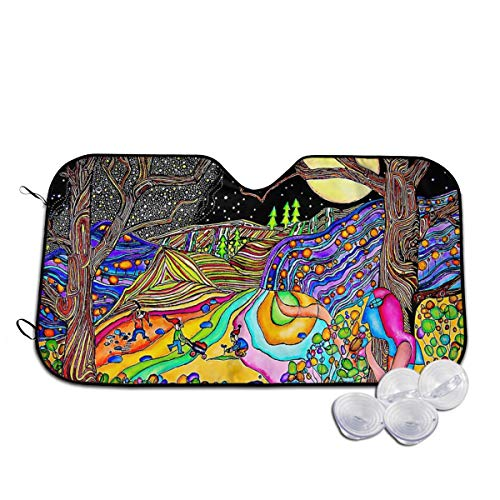 Fullmoon On Psychedelic Hill Windshield Sun Shades for Car UV and Heat Reflector