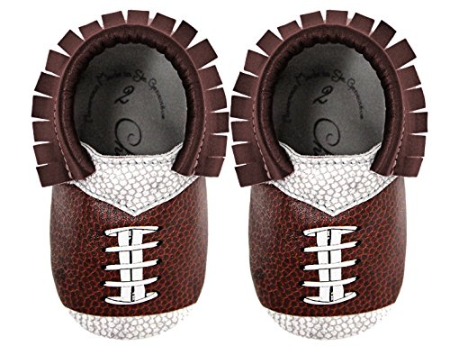 Football Design Team Colors Moccasin Size 3 12-18 Month 100% American leather moccasins for babies & toddlers Made in - Team Color Leather