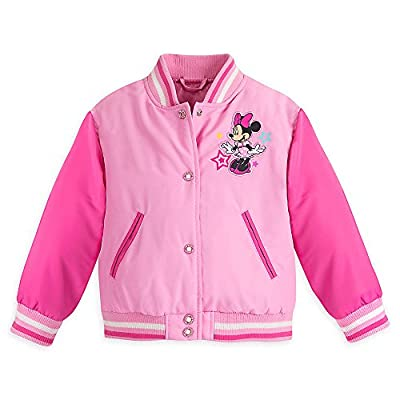 Disney Girls Minnie Mouse Varsity Jacket Pink