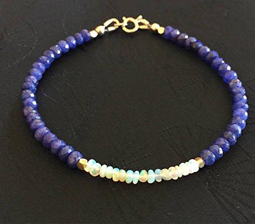 JP_Beads Ethiopian Welo Opal and Blue Sapphire Bracelet, Delicate Gemstone Beaded Bracelet, September Birthstone, 14K Gold Fill, 24K Gold Vermeil 4-4.5 mm