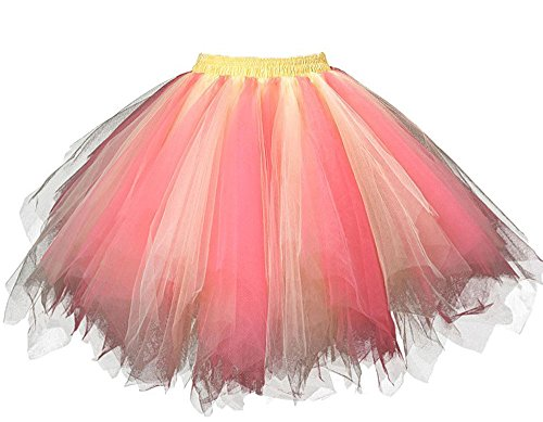 Red Bubble Coral (MsJune Women's 1950s Vintage Petticoats Crinolines Bubble Tutu Dance Half Slip Skirt Coral & Yellow-S/M)