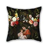 artistdecor oil painting Daniel Seghers - Garland of Flowers with Madonna and Child throw cushion covers ,best for pub,boys,outdoor,office,bar seat,dinning room 18 x 18 inches / 45 by 45 cm(double s