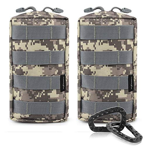 - FUNANASUN 2 Pack Molle Pouches Tactical Compact Water Resistant EDC Pouch (ACU)