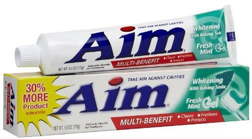 (Aim Whitening Anticavity Fluoride Toothpaste, with Baking Soda, Fresh Mint Gel, 6 Oz (Pack of 6))
