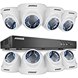 ANNKE 16CH 3.0MP Home Security Camera System W/ 8x HD 1080P 2.0MP waterproof Night vision Fixed Surveillance Camera, Super Night Vision, NO HDD Included