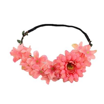 Uesae Diadema de flores Diadema Floral Diadema Flor Flor margarita  ajustable cinta para mujeres niñas boda 4764e9e322f