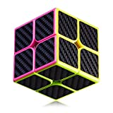 BUDI 2x2 Speed Cube Carbon Fiber Black Sticker Rubiks Cube Fast and Smooth Magic Cube Time-Tested Classic Cube Puzzle