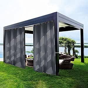 DecorHome Cortina de exterior opaca térmica aislante antiguo bronce ojal cortina/panel con cuerda abrazadera para patio/porche delantero, color beige (84W x 84L pulgadas): Amazon.es: Hogar