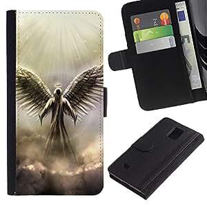 Be Good Phone Accessory // Caso del tirón Billetera de Cuero Titular de la tarjeta Carcasa Funda de Protección para Samsung Galaxy Note 4 SM-N910 // Angel God Heaven Clouds Light Wings Art