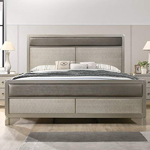 Roundhill Furniture B480KDMNC 5 Piece Keila Contemporary Bedroom Set, King  Bed, Dresser, Mirror, Nightstand, Chest, Champagne Silver