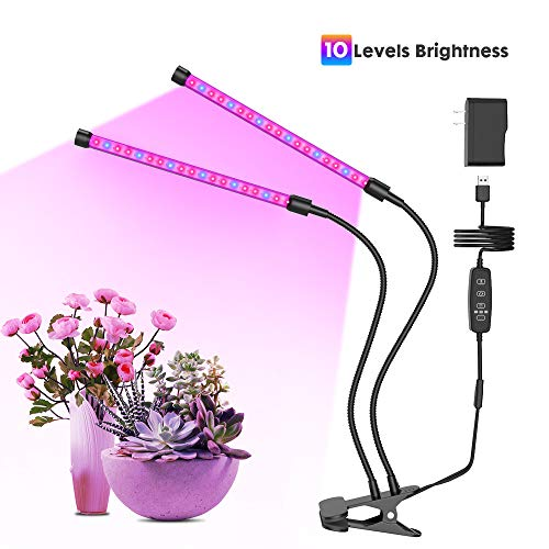 GROSSYLAND 20W Plant Grow Light with Auto Turn ON/Off Function, 2-Head LED Grow Light with 10 Dimmable Levels Grow Lamp with Free Adjustable Gooseneck for Indoor Plants Growing