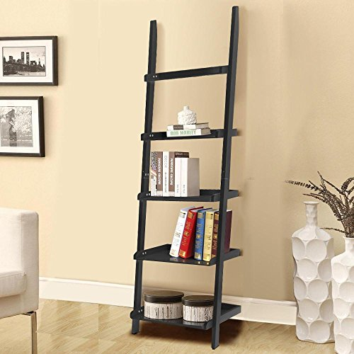 go2buy Modern Black Wood 5 Tier Leaning Ladder Shelf Bookcase Bookshelf 70 Inch Book DVD CD Display Storage Shelves Unit (Metal Narrow Tall Shelves)