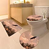 HuaWuhome 3 Piece Extended Bath mat Set Bald Eagle Soaring in The Rocky Mountain high Country Widen