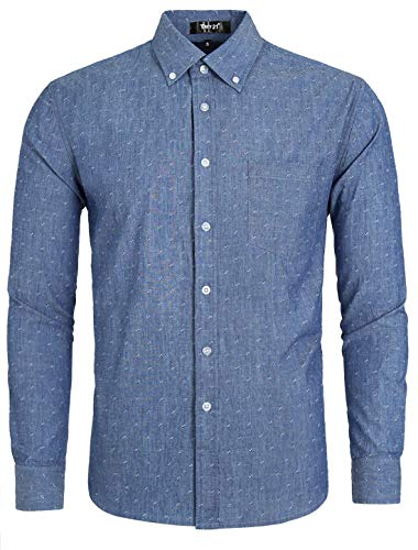 TATT 21 Men Denim Shirt Pocket Weave Casual Cotton Long Sleeve Button Down Work Shirts M Sky Blue