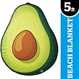 BigMouth Inc Giant Avocado Beach Blanket, Oversized Beach Towel, Ulta-Soft Microfiber Towel, 5 Feet Wide, Washing Machine Friendly
