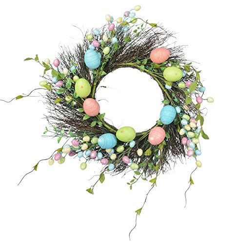 24 Inch Spring Easter Wreath with Glittered Eggs and Vines on a Natural Twig (Natural Twig Base)