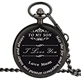 Pocket Watch - Engraved to My Son Love Mom - Perfect Gift from a Mother to Son for College Graduation/Birthday Gift