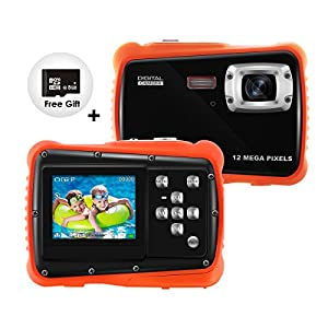 KIVIS HD Underwater Kids Camera, 9.8ft Waterproof Digital Children Action Camera Video Camcorder with 8x Digital Zoom, Flash Light and Mic, Best BD Gift for Your Boys Daughters