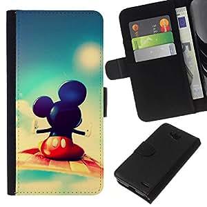 NEECELL GIFT forCITY // Billetera de cuero Caso Cubierta de protección Carcasa / Leather Wallet Case for LG OPTIMUS L90 // Mickey Fly
