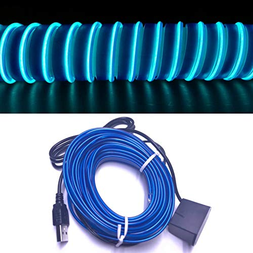 (M.best USB Neon LED Light Glowing Electroluminescent Wire/El Wire for Automotive Interior Car Cosplay Decoration with 6mm Sewing Edge (5M/15FT, Blue))