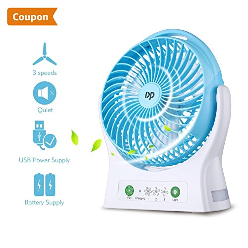 Battery Operated Fan Rechargeable Fan Portable USB Powered and Rechargeable Battery Operated Personal Desk fan Strong Airflow Cooling fan 3 Speeds for Travel Home Kitchen Office and Outdoor by DurationPower
