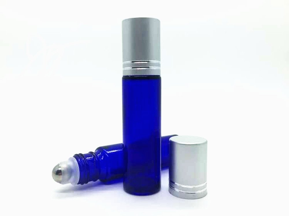 10ml (1/3 oz) Blue Glass Refillable Travel Perfume Bottles with Stainless Steel Roller Ball and Brushed Aluminum Cap, Using for Essential Oil and Perfume (Set of 3)