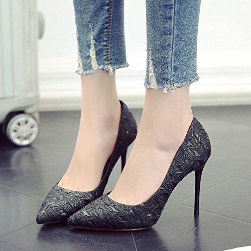 Con Zapatos GAOLIM Zapatos Mujer De Fina Tacón De Una Negro Primavera Punta Zapatos Negro q1wIFra1