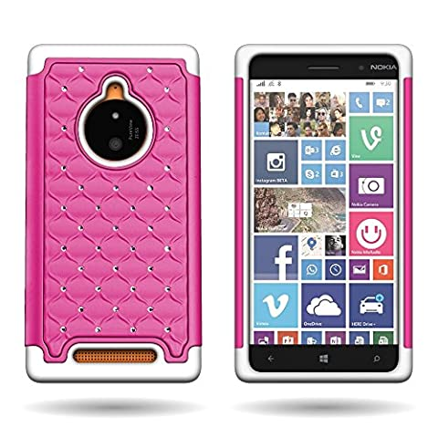 CoverON Diamond Bling Hybrid Case for Girls by Nokia Lumia 830 - [Hot Pink Hard Plastic Shell + Soft White Shock Absrobing (Hard Case For Nokia Lumia 830)