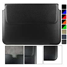 Emartbuy Lenovo ThinkPad X1 Yoga 14 Inch Carbon Fibre Finish Black Premium PU Leather Magnetic Folio Wallet Case Cover Sleeve ( 13.3 to 14 Inch )