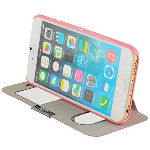 N94- Windows View Flipcase für Apple iPhone 6 ( 4,7 Zoll )/ Standfunktion / Sichtfernster / Smart Touch / Schutzhülle in Rosa