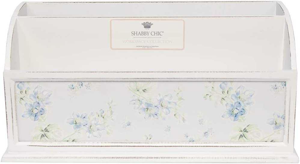 Shabby Chic by Designstyles Desktop File Holder - 2 Compartment Decorative Letter, Mail and Stationary Organizer Stylish White MDF Wood with Blue Floral Design - Table Top Décor for Home and Office