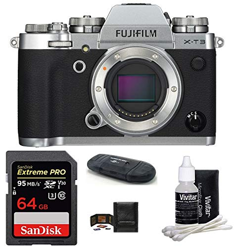 FUJIFILM X-T3 Mirrorless Digital Camera Body (Silver) Bundle, Includes: SanDisk 64GB Extreme PRO SDXC Memory Card, Card Reader, Memory Card Wallet and Lens Cleaning Kit