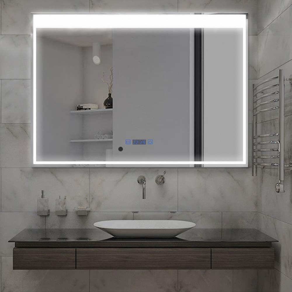 MiraHope LED ミラー 洗面所 浴室鏡 洗面台 照明付き 防曇 防水 おしゃれ ledミラー (三色80×60cm)