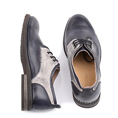 Mariage Derby toe Lacets Véritable De De Travail Round Bloc Bureau Black De De Bureau à Cuir De Hommes Chaussures La Chaussures Main Chaussure En MERRYHE Blucher Couleur w7qUZaCx