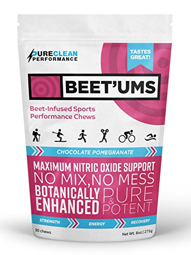 Performance Chews – PureClean Performance Beet'Ums. Beet Infused Chocolate Pomegranate Marathon Chews– Concentrated fermented beet root powder endurance nutrition triathlon food.