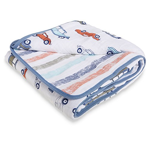 Aden by Aden + Anais Muslin Blanket, 100% Cotton Muslin, 4 Layer Lightweight and Breathable, Large 44 X 44 inch, Hit The Road - Car by Aden