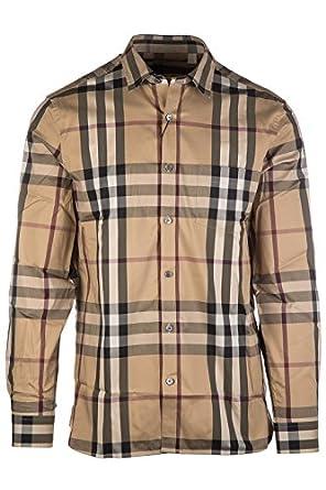 Burberry men 39 s long sleeve shirt dress shirt nelson beige for Burberry shirt size chart
