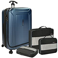 Traveler's ChoiceBarcelona luggage is made of 100 percentage polycarbonate, the traveler's choice dual compartment has a highly impact-resistant hard-shell material that is strong and lightweight, with a scratch-resistant finish. The patent-...