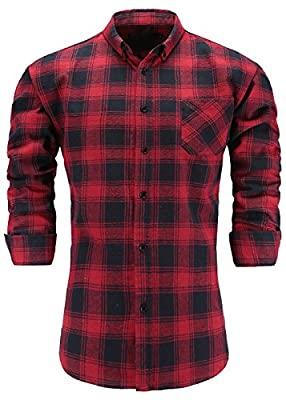 KateSui Mens Slim Fit Long Sleeve Button-Down Plaid Dress Shirt