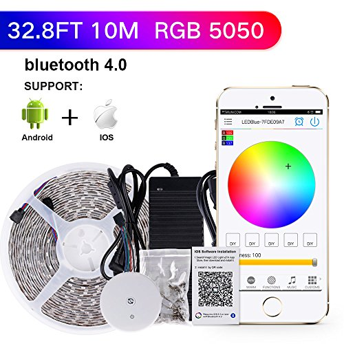 Sanwo 328ft app led lights strip kit with 24v power adapter sanwo 328ft app led lights strip kit with 24v power adapter bluetooth controller strip light fixing clips waterproof 5050 rgb 600leds multicolored supply aloadofball Gallery