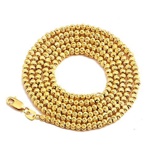 Yellow Gold Ball Chain - LoveBling 10K Yellow Gold 3mm Italian Moon Cut Bead Chain Necklace with Lobster Lock (18