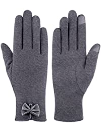 Womens NEW Bowknot TouchScreen Cold Weather Thick lining Outdoor Gloves
