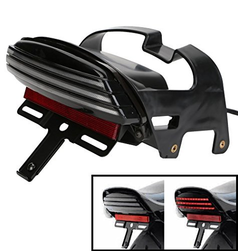 CICMOD Smoke Tri-Bar Fender LED Tail Brake Light for Harley Dyna Fat Bob FXDF 2008-2015 (Black)