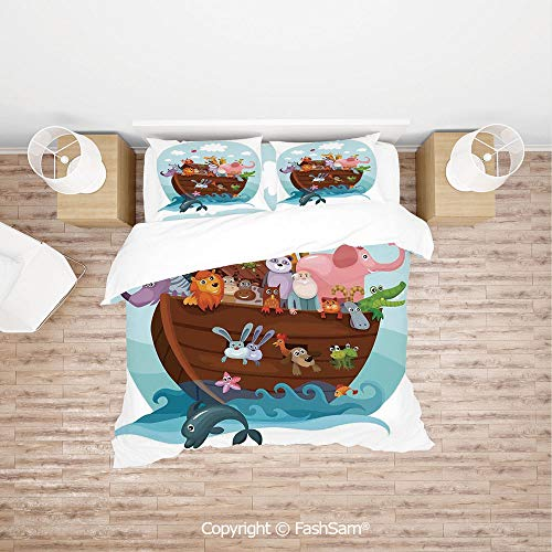 (FashSam Duvet Cover 4 Pcs Comforter Cover Set Two of Every Living in Noahs Ark Ancient Architecture Humorously Designed Print for Boys Grils Kids(Single) )
