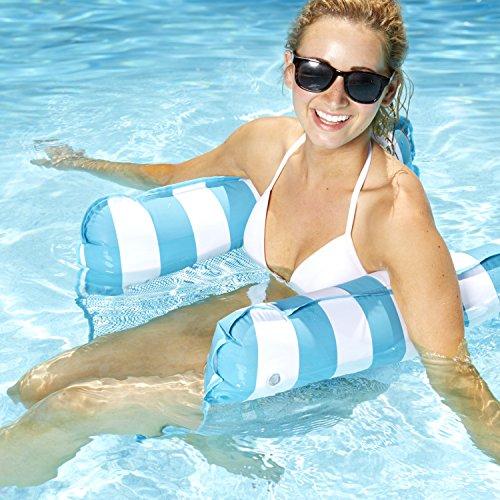 Wholesale Aqua AQL10180 Monterey 4-in-1 Multi-Purpose Inflatable Hammock Portable Pool Float, Blue Stripe; One Size for sale